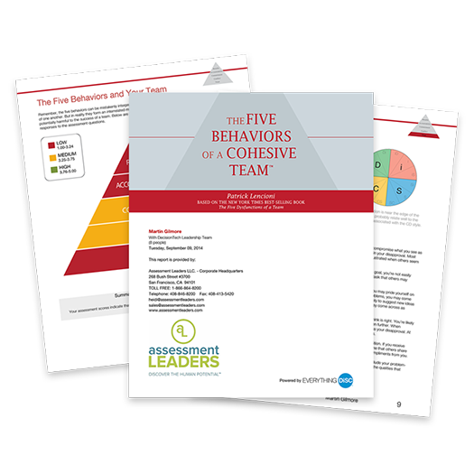 assessment - five behaviors of a cohesive teams cover image