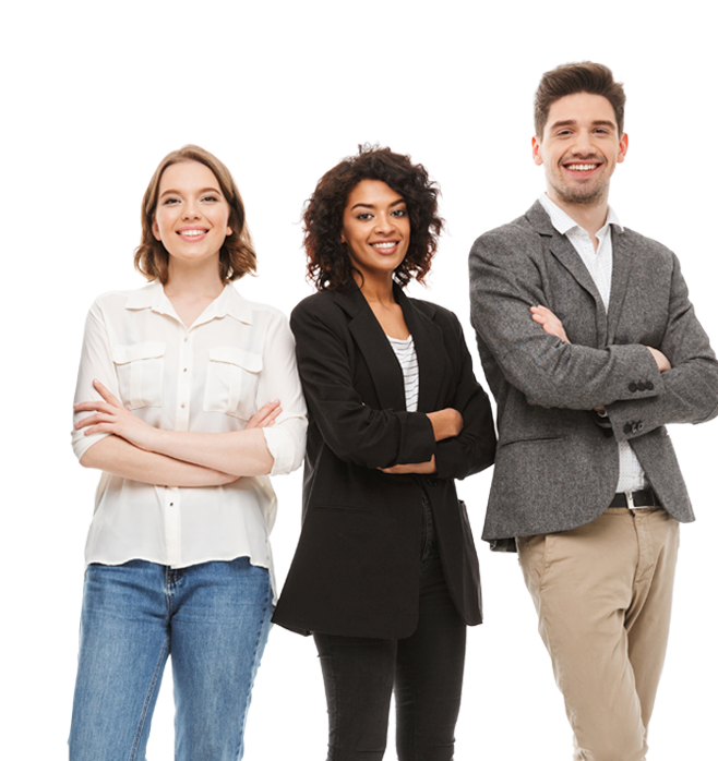 Millennial young diverse workers photo standing together